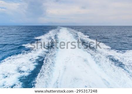 Boat wave wake - stock photo