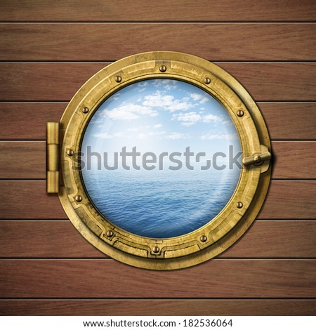 boat window or porthole on wood wall with sea or ocean horizon behind it - stock photo