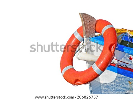 boat with life buoy isolated on white background