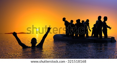 boat with migrants fleeing the war