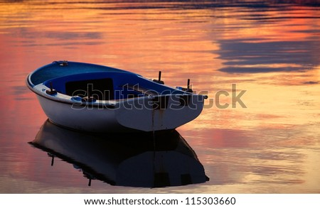 Boat with reflection ? 2 - stock photo