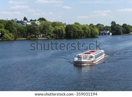 Boat with tourists on Alster Lake for Water and Canal tours Special Sightseeing cruise tour takes travellers on the water along the Inner Alster and Outer Alster. Ferry traffic tranportation