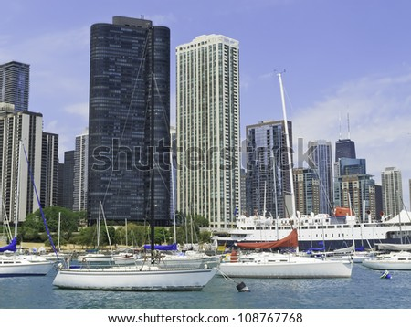 Boater's view of Chicago skyline near Navy Pier in summer