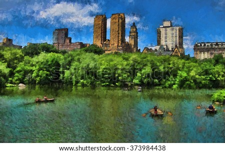 Boaters on New York City's Central Park Lake in Spring transformed into a colorful painting