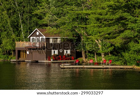 Boathouse and red chairs