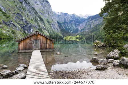 Boathouse at Obersee  Berchtesgaden, Bavaria, Germany - stock photo