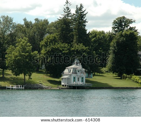 Boathouse on Skaneateles Lake in the Finger Lakes Region of Upstate New York.