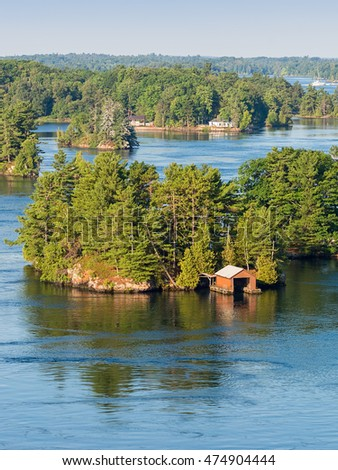 Boathouses in Thousand Islands region in Ontario