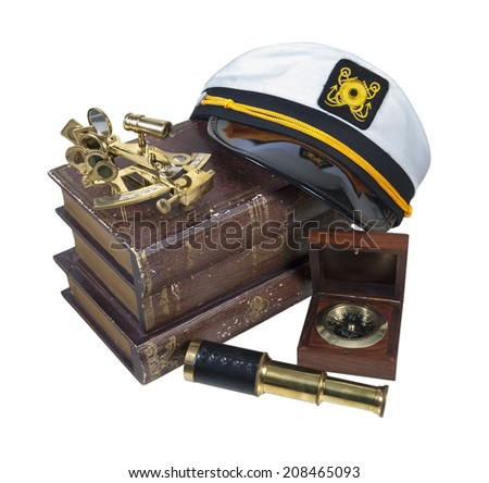 Boating Books Captain Hat Brass Sextant Telescope - path included