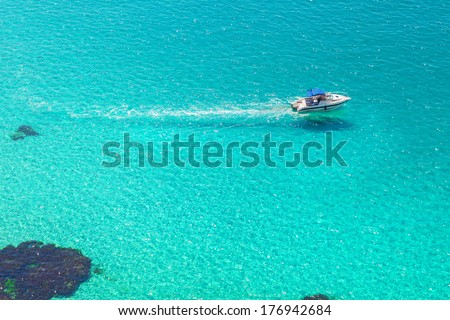 Boating on the islands. Activities in resort - stock photo