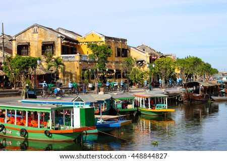Boats anchored in Hoi An, an ancient trading port city in central Vietnam