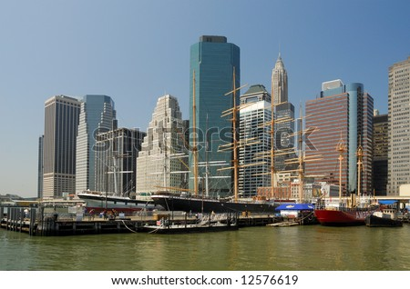 Boats and buildings in South Street Seaport in New York