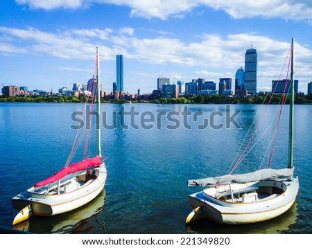 Boats and Charles river in Boston - stock photo