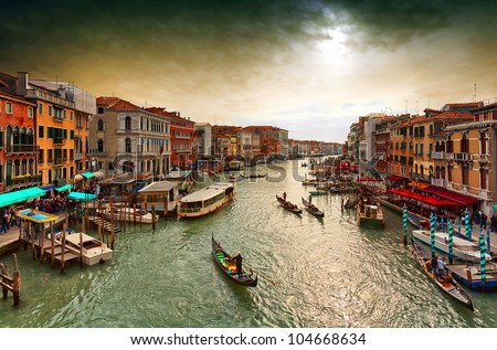 Boats and gondolas on the Grand Canal of Venice,. View from Bridge Rialto.
