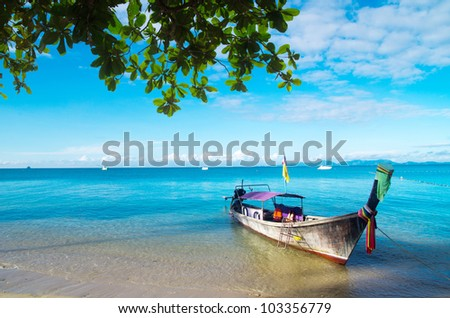 boats and islands in andaman sea Thailand