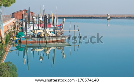 boats and trees reflected in Venice lagoon