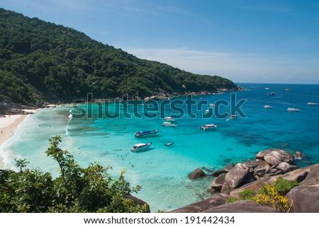 Boats and yachts in the bay at Similan Islands, Thailand - stock photo