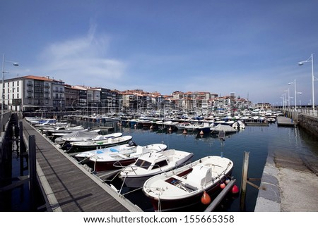 Boats and yachts in the port of city Lekeitio, Basque country, Spain.