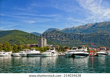 Boats and yachts moored in harbor in Budva, Montenegro. - stock photo