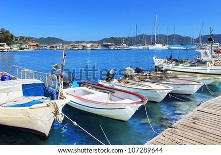 Boats and yachts, near Kekova island, Turkey - stock photo