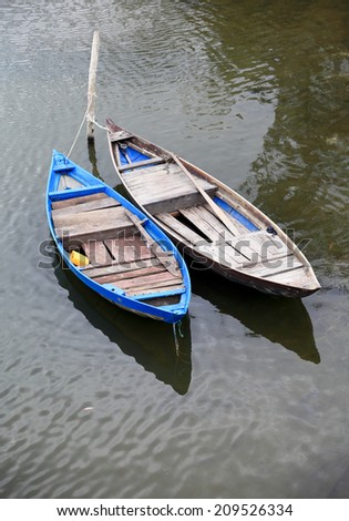 Boats are anchoring side by side  - stock photo