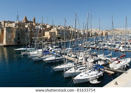 Boats at a marina in Malta - stock photo