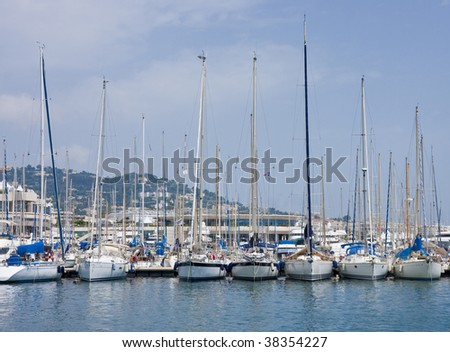 Boats at a marina on the coast of Cannes France