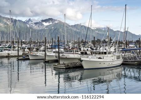 Boats at a pier in Seward ,Alaska - stock photo