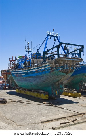 Boats at fisherman's port of Essaouira, western Morocco