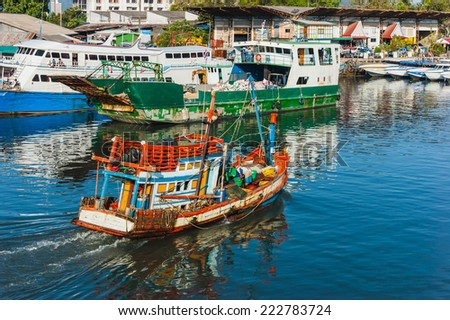 Boats at sea  in Thailand. Phuket Island - stock photo