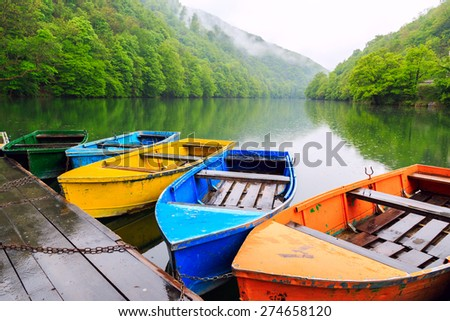 Boats at the lake Hamori near Lillafured in Hungary - stock photo