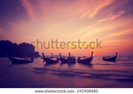 Boats Bay Seashore Sunset Nature Beach Concept - stock photo
