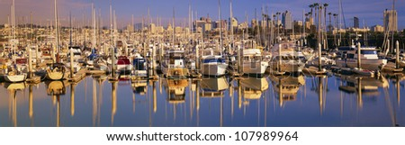 Boats docked at San Diego,CA marina - stock photo