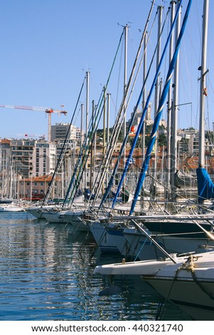 Boats docked in the Old Port of Marseilles (France). - stock photo