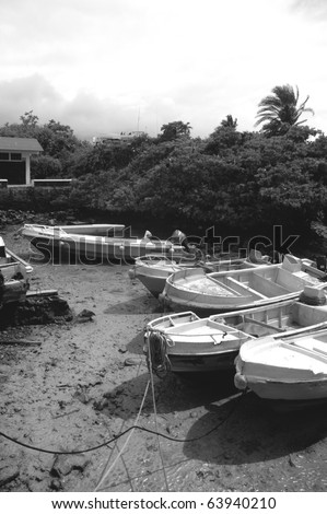 Boats en low tide, Santa Cruz, Galapagos Islands, Ecuador
