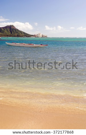Boats Float Pacific Ocean Diamond Head Oahu Waikiki Hawaii - stock photo