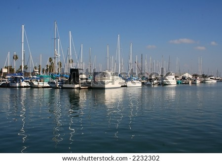 Boats in a California harbor.