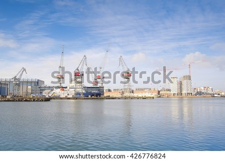 Boats in a harbour of Helsinki, Finland