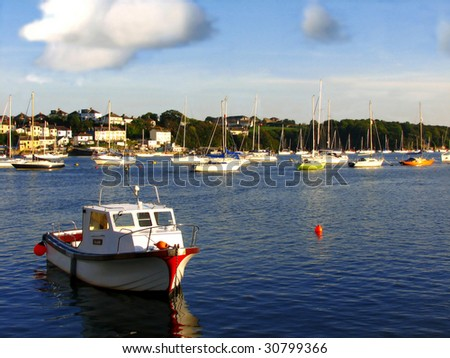 Boats in bay,Plymouth,UK - stock photo