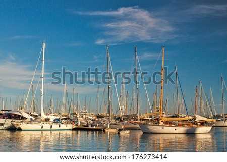Boats in Cannes harbor - stock photo