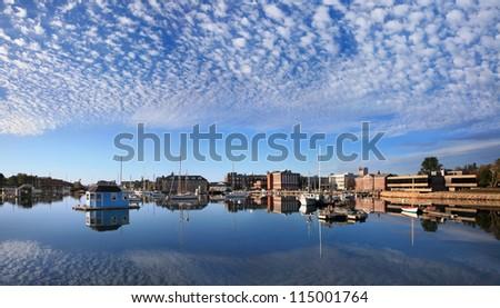 Boats In Eel Pond, Woods Hole, Cape Cod, Massachusetts, USA - stock photo