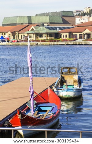 Boats in Golden Horn on the dock in Istanbul Eyup - stock photo