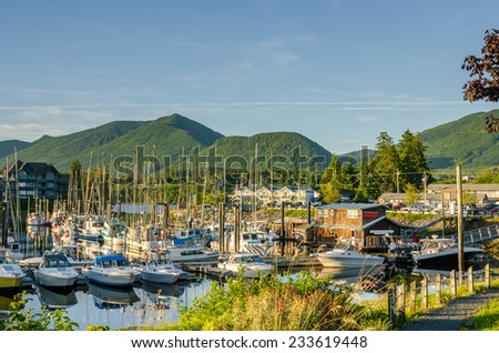 Boats in Harbour at Sunset - stock photo