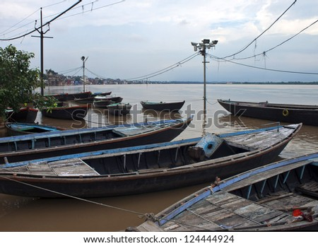 Boats in holy city of Varanasi, India - stock photo