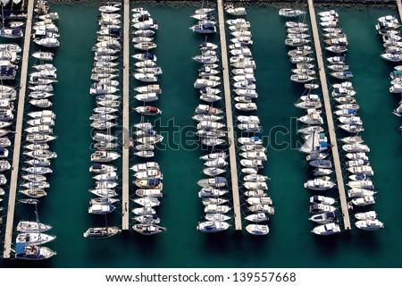 Boats in little port Spinut in town Split, Croatia - stock photo