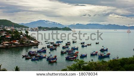 Boats in Nha Trang Bay, Vietnam - stock photo