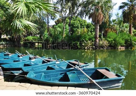 Boats in Parc de la Ciutadella, Barcelona, Spain - stock photo