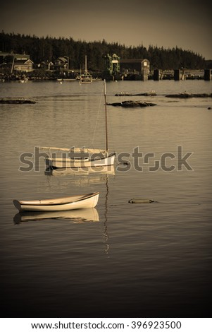 boats in quaint harbor in Maine near Acadia National Park - stock photo