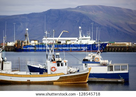 Boats in Reykjavik Harbor, Iceland during Summer - stock photo