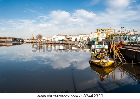 Boats in Riachuelo Shipyard in picturesque neighborhood of La Boca, in Buenos Aires, Argentina - stock photo
